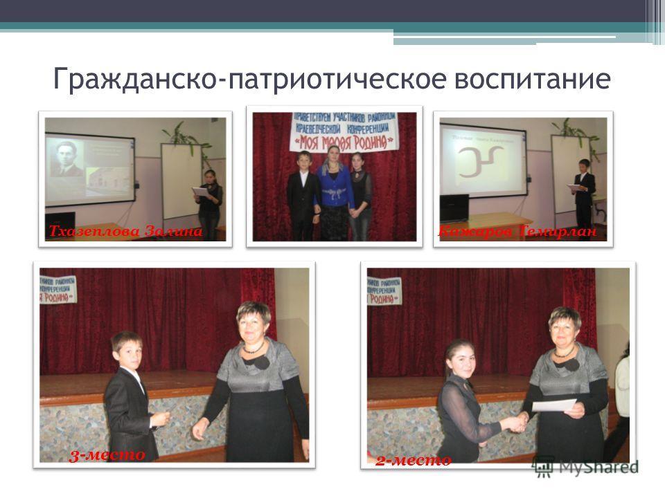 Гражданско-патриотическое воспитание Тхазеплова ЗалинаКажаров Темирлан 3-место 2-место