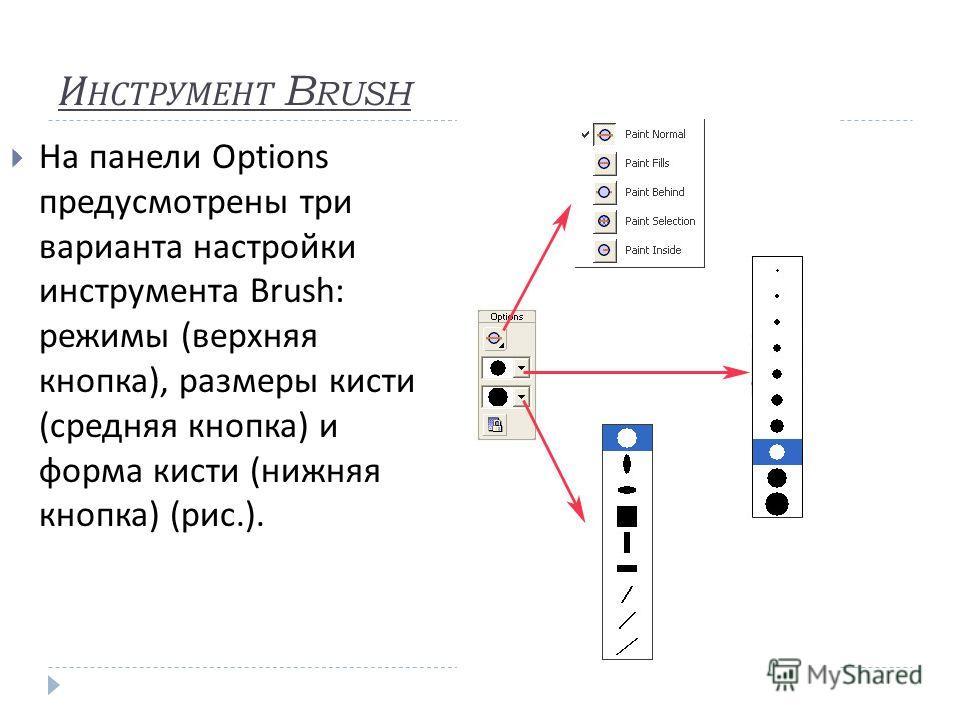 И НСТРУМЕНТ B RUSH На панели Options предусмотрены три варианта настройки инструмента Brush: режимы ( верхняя кнопка ), размеры кисти ( средняя кнопка ) и форма кисти ( нижняя кнопка ) ( рис.).