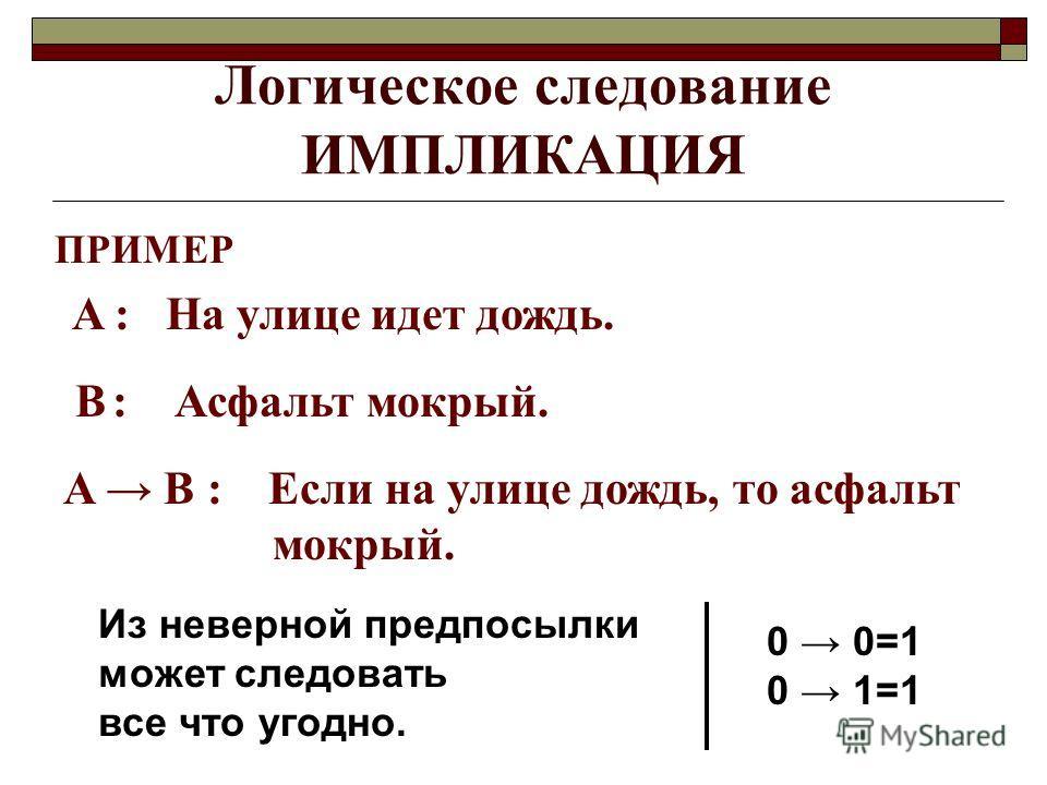 Логическое следование ИМПЛИКАЦИЯ ПРИМЕР A : На улице идет дождь. B : Асфальт мокрый. A B : Если на улице дождь, то асфальт мокрый. Из неверной предпосылки может следовать все что угодно. 0 0=1 0 1=1