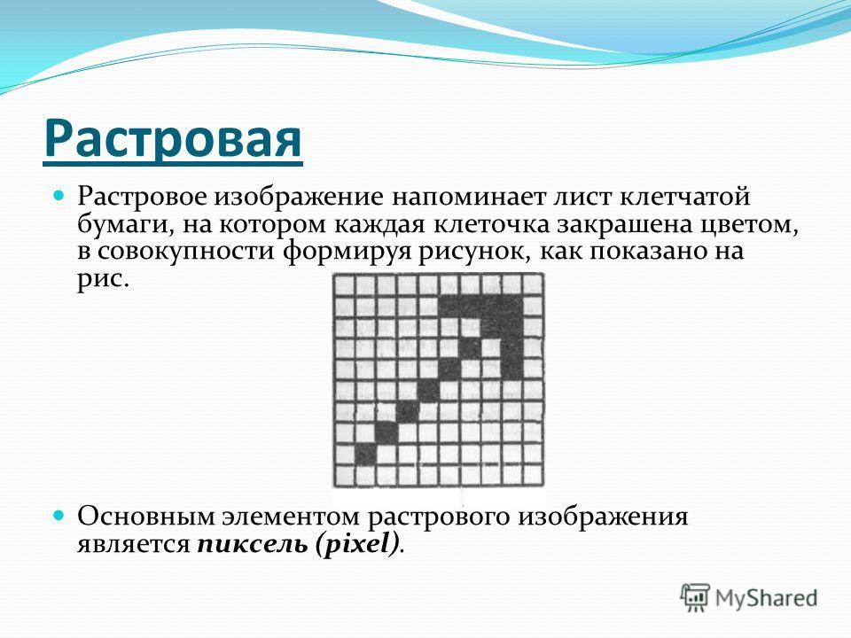 Растровая Растровое изображение напоминает лист клетчатой бумаги, на котором каждая клеточка закрашена цветом, в совокупности формируя рисунок, как показано на рис. Основным элементом растрового изображения является пиксель (pixel).
