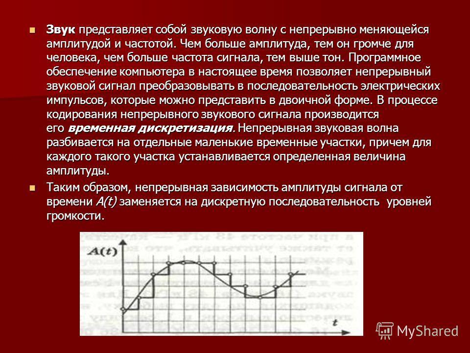 Звук представляет собой звуковую волну с непрерывно меняющейся амплитудой и частотой. Чем больше амплитуда, тем он громче для человека, чем больше частота сигнала, тем выше тон. Программное обеспечение компьютера в настоящее время позволяет непрерывн