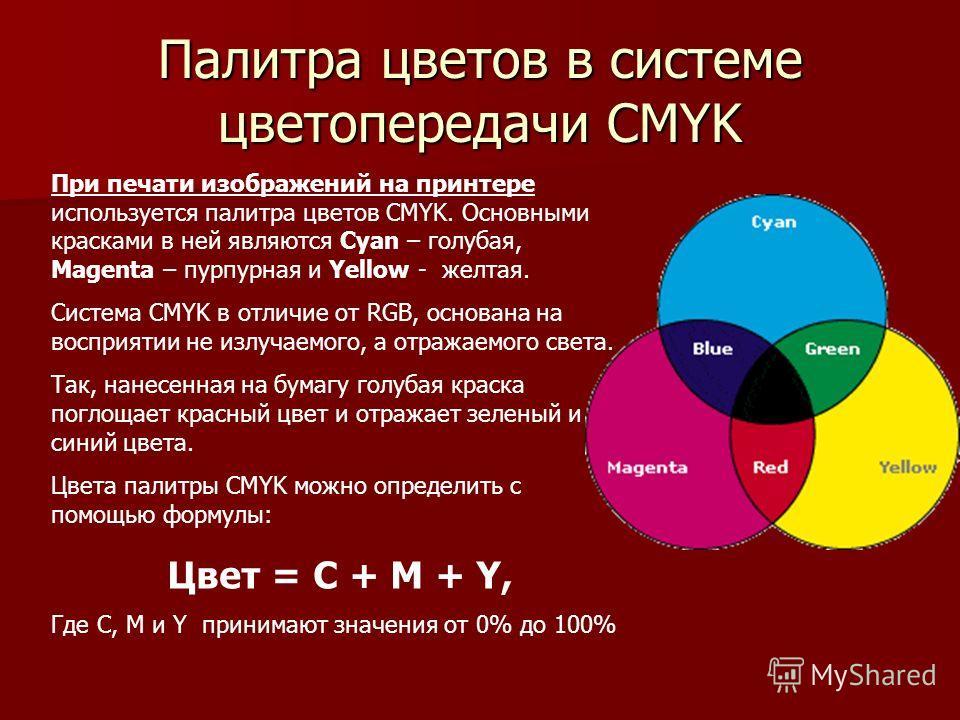 Палитра цветов в системе цветопередачи CMYK При печати изображений на принтере используется палитра цветов CMYK. Основными красками в ней являются Cyan – голубая, Magenta – пурпурная и Yellow - желтая. Система CMYK в отличие от RGB, основана на воспр
