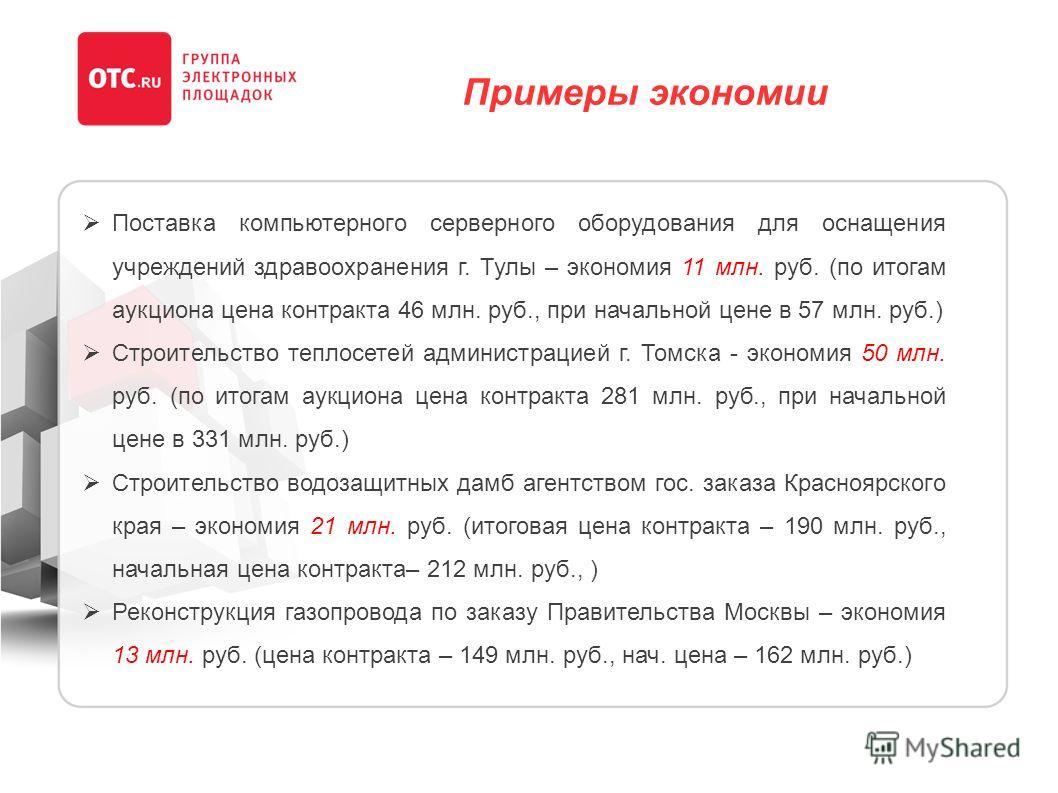 Примеры экономии Поставка компьютерного серверного оборудования для оснащения учреждений здравоохранения г. Тулы – экономия 11 млн. руб. (по итогам аукциона цена контракта 46 млн. руб., при начальной цене в 57 млн. руб.) Строительство теплосетей адми