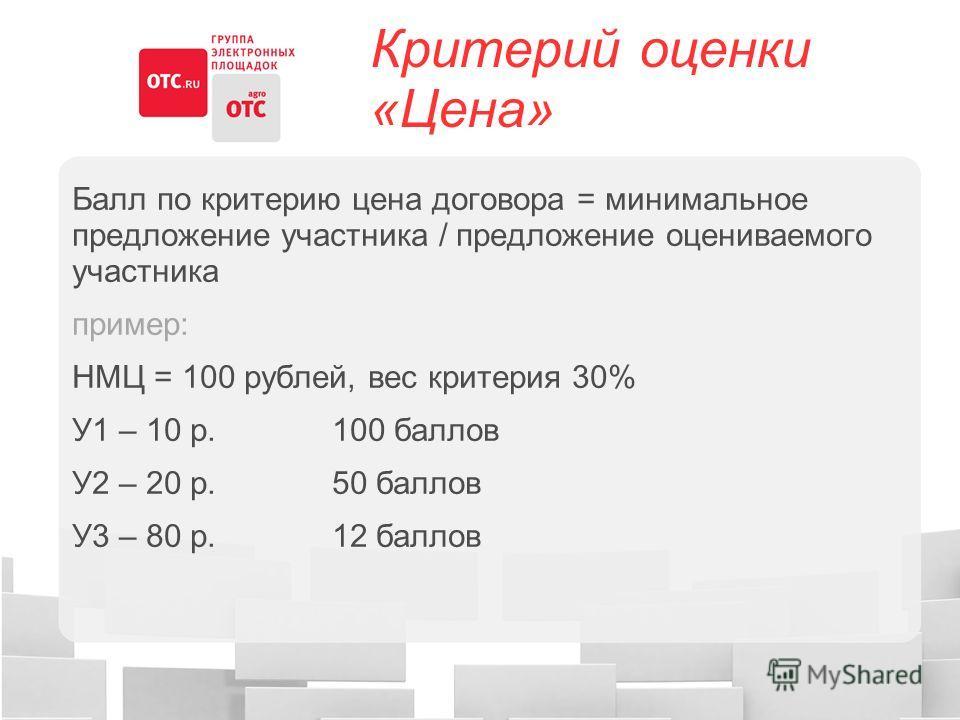 Критерий оценки «Цена» Балл по критерию цена договора = минимальное предложение участника / предложение оцениваемого участника пример: НМЦ = 100 рублей, вес критерия 30% У1 – 10 р. 100 баллов У2 – 20 р. 50 баллов У3 – 80 р. 12 баллов