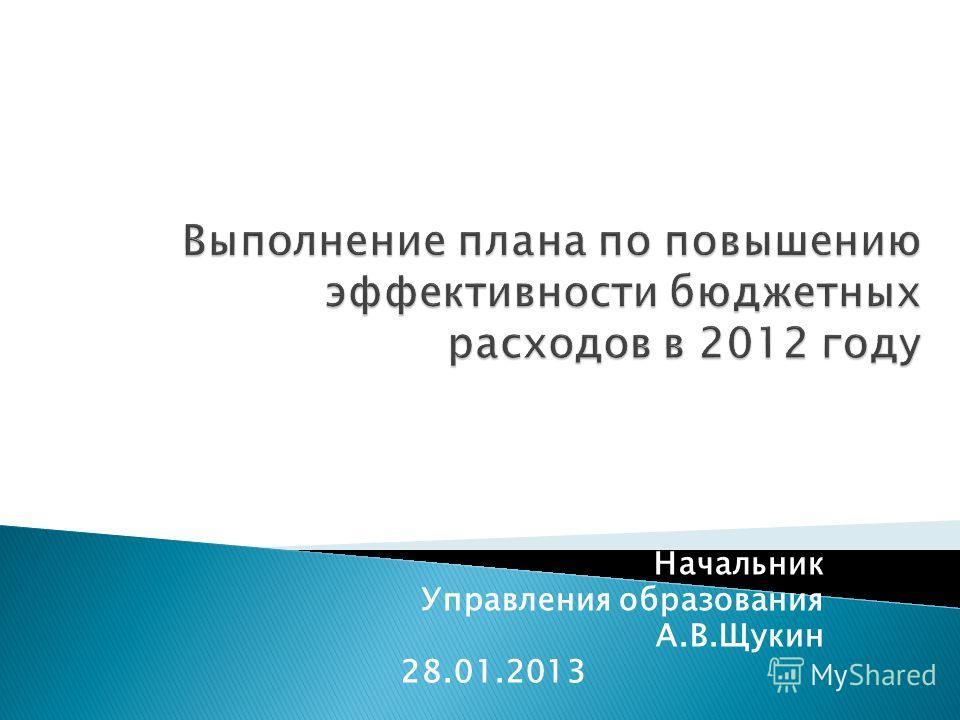 Начальник Управления образования А.В.Щукин 28.01.2013