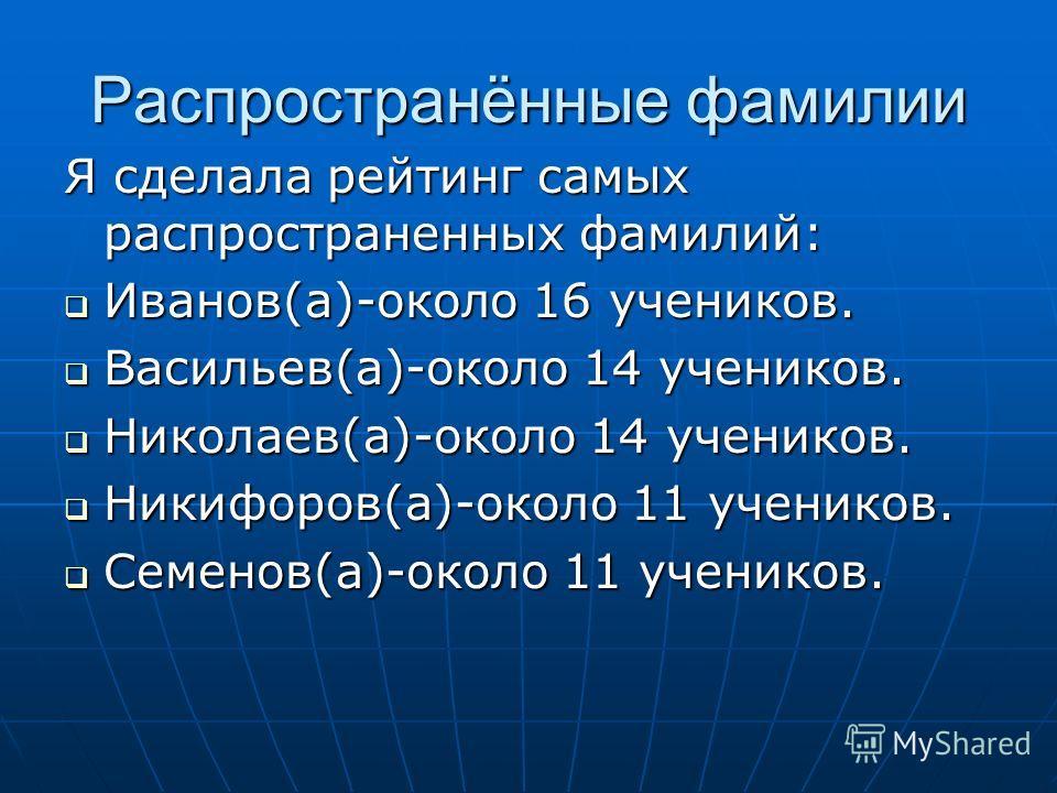 Распространённые фамилии Я сделала рейтинг самых распространенных фамилий: Иванов(а)-около 16 учеников. Иванов(а)-около 16 учеников. Васильев(а)-около 14 учеников. Васильев(а)-около 14 учеников. Николаев(а)-около 14 учеников. Николаев(а)-около 14 уче