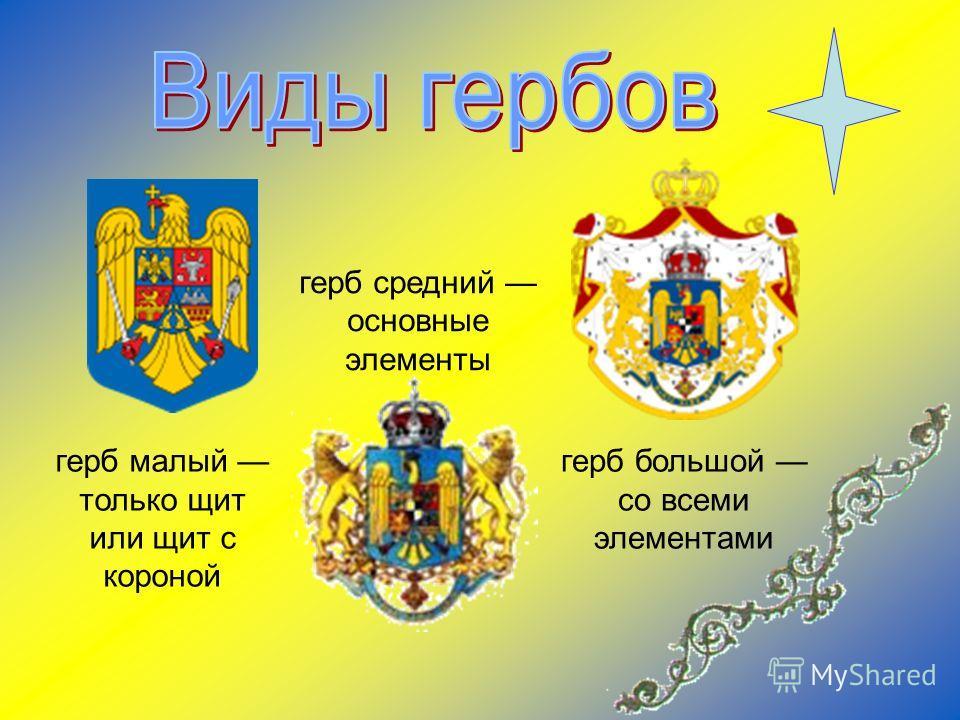 герб средний основные элементы герб большой со всеми элементами герб малый только щит или щит с короной