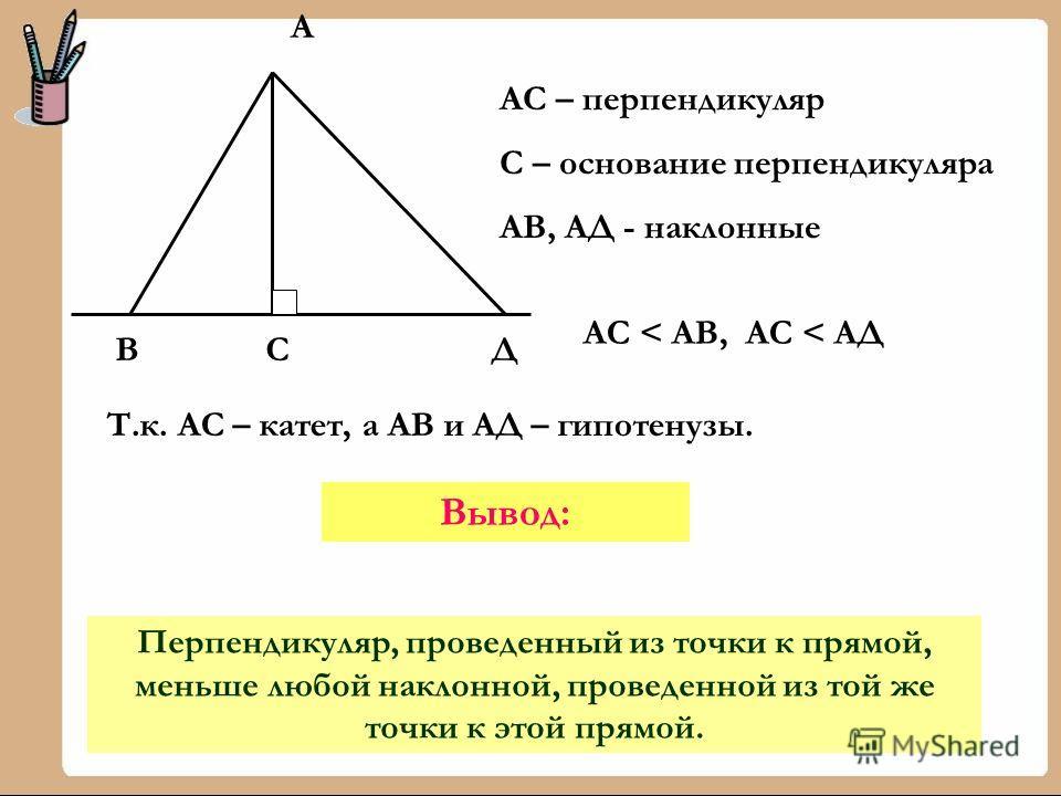 ВСД А АС – перпендикуляр С – основание перпендикуляра АВ, АД - наклонные АС < АВ, АС < АД Т.к. АС – катет, а АВ и АД – гипотенузы. Перпендикуляр, проведенный из точки к прямой, меньше любой наклонной, проведенной из той же точки к этой прямой. Вывод: