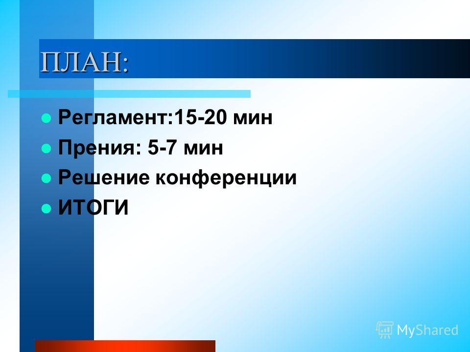 ПЛАН: Регламент:15-20 мин Прения: 5-7 мин Решение конференции ИТОГИ