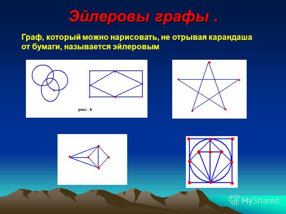 Эйлеровы графы. Граф, который можно нарисовать, не отрывая карандаша от бумаги, называется эйлеровым