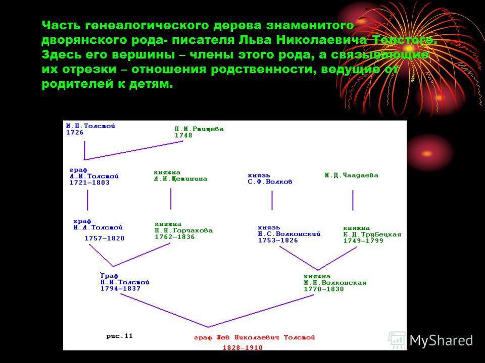 Часть генеалогического дерева знаменитого дворянского рода- писателя Льва Николаевича Толстого. Здесь его вершины – члены этого рода, а связывающие их отрезки – отношения родственности, ведущие от родителей к детям.