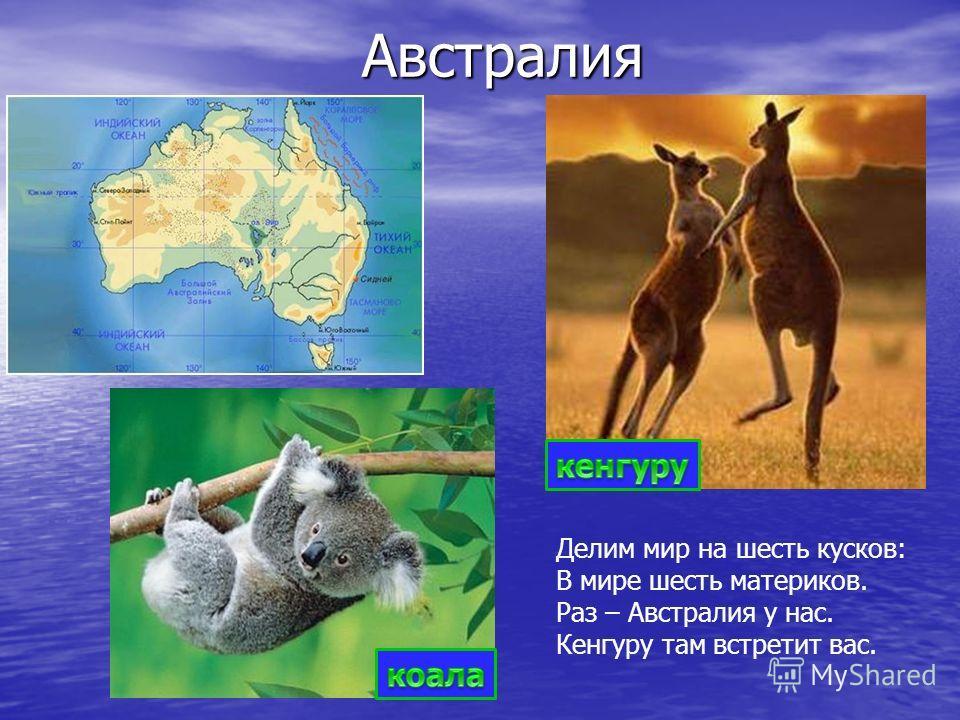 Австралия Делим мир на шесть кусков: В мире шесть материков. Раз – Австралия у нас. Кенгуру там встретит вас.