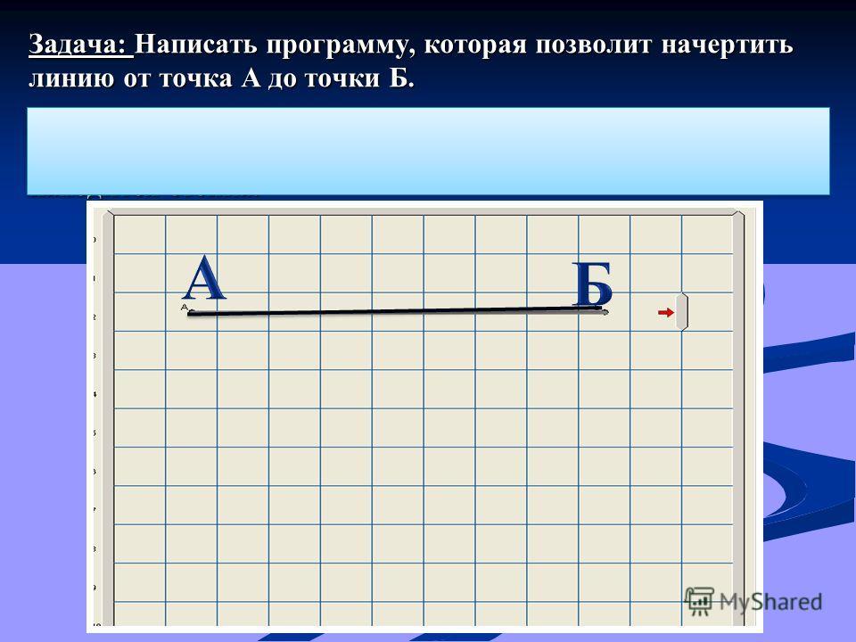 Задача: Написать программу, которая позволит начертить линию от точка А до точки Б. Расстояние от А до Б заранее неизвестно. Но точно известно, что за точкой Б, на расстоянии одной клетки от нее находится стенка.