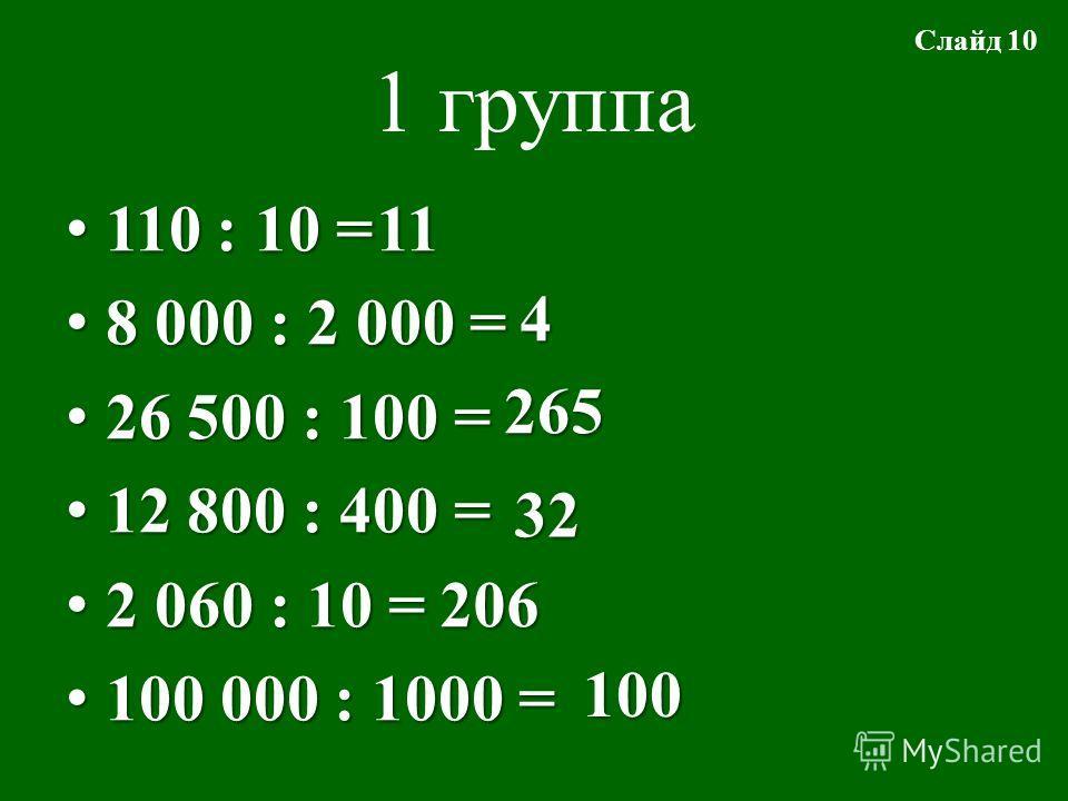 1 группа 110 : 10 = 110 : 10 = 8 000 : 2 000 = 8 000 : 2 000 = 26 500 : 100 = 26 500 : 100 = 12 800 : 400 = 12 800 : 400 = 2 060 : 10 = 2 060 : 10 = 100 000 : 1000 = 100 000 : 1000 =11 4 265 32 206 100 Слайд 10