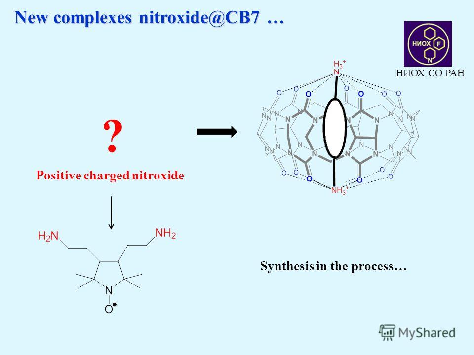 New complexes nitroxide@CB7 … New complexes nitroxide@CB7 … ? Positive charged nitroxide НИОХ СО РАН Synthesis in the process…