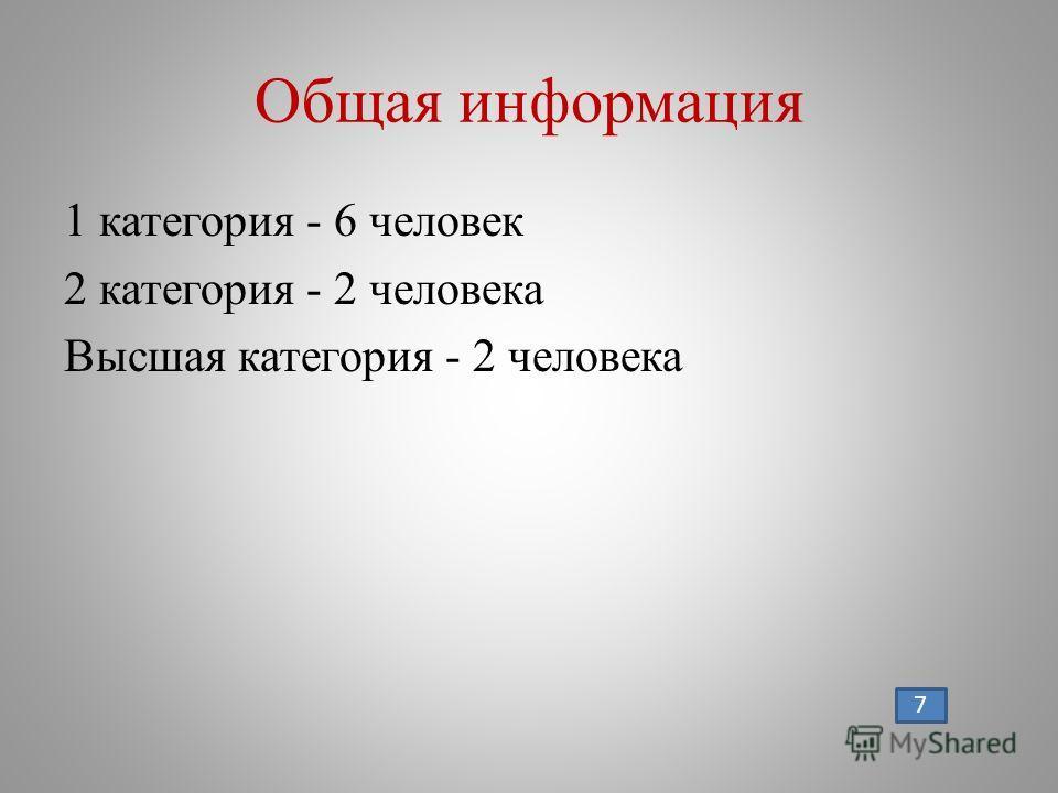 Общая информация 1 категория - 6 человек 2 категория - 2 человека Высшая категория - 2 человека 7