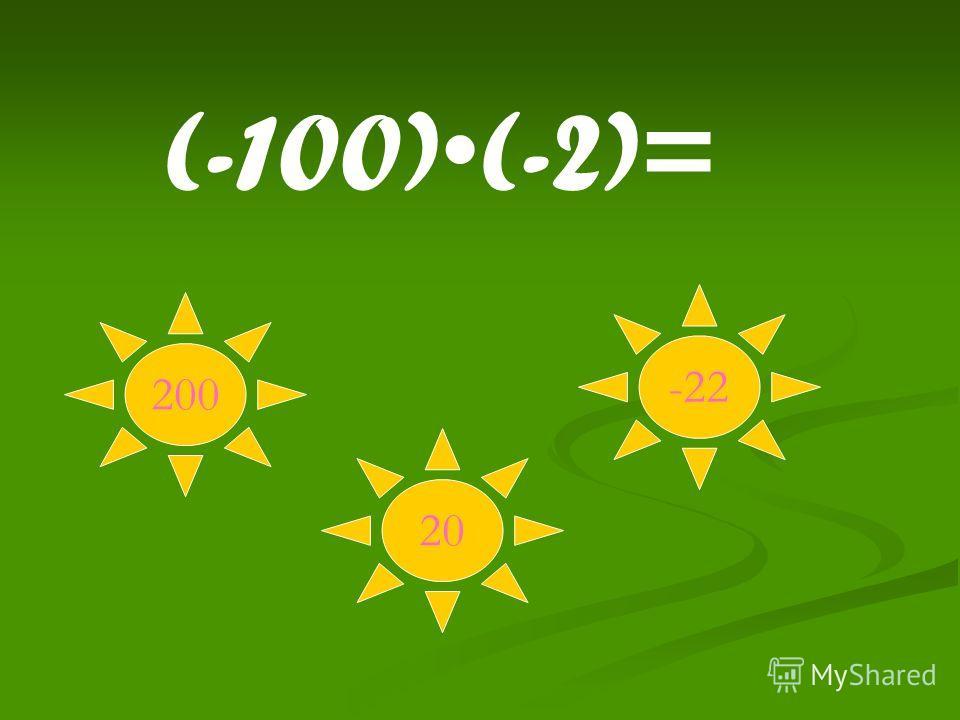200 20 -22 (-100)(-2)=