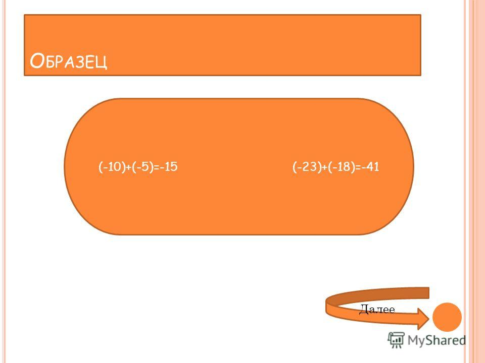 О БРАЗЕЦ (-10)+(-5)=-15(-23)+(-18)=-41 Далее