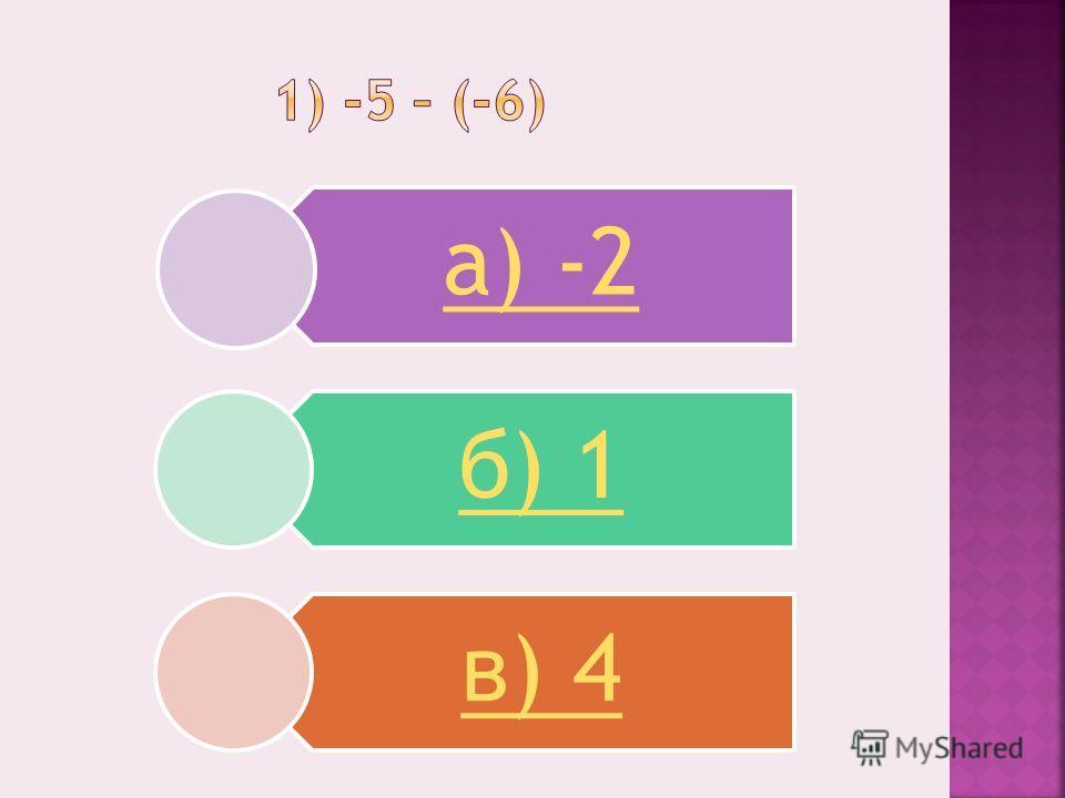 а) -2 б) 1 в) 4