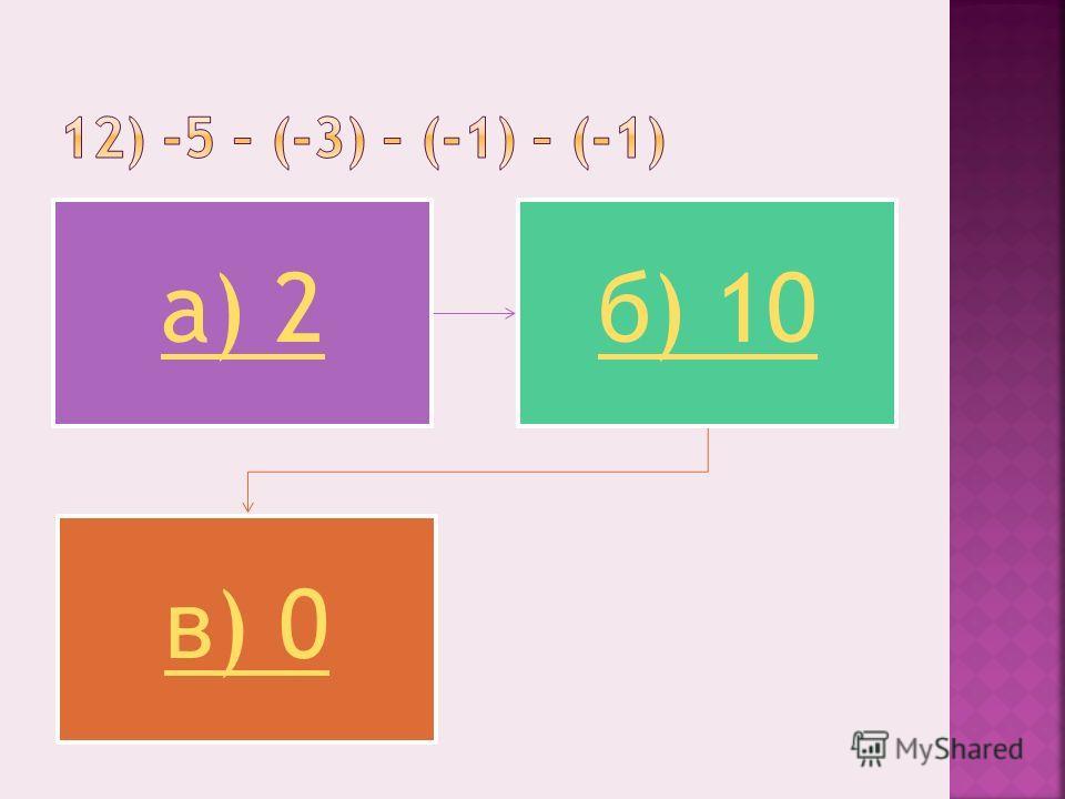 а) 2б) 10 в) 0