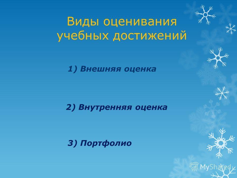 Виды оценивания учебных достижений 1) Внешняя оценка 2) Внутренняя оценка 3) Портфолио