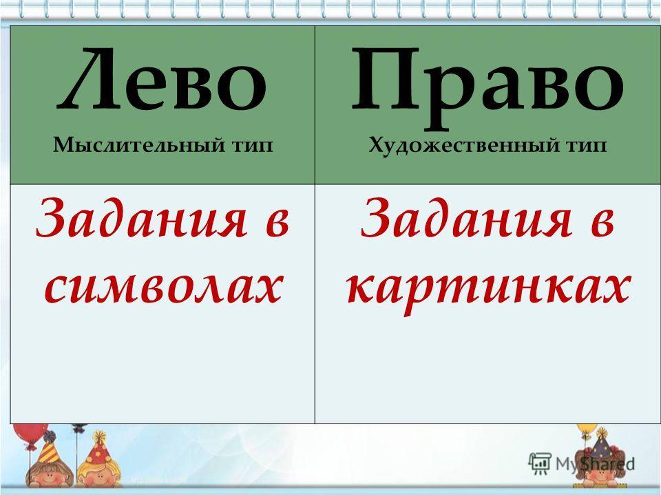 Лево Мыслительный тип Право Художественный тип Задания в символах Задания в картинках