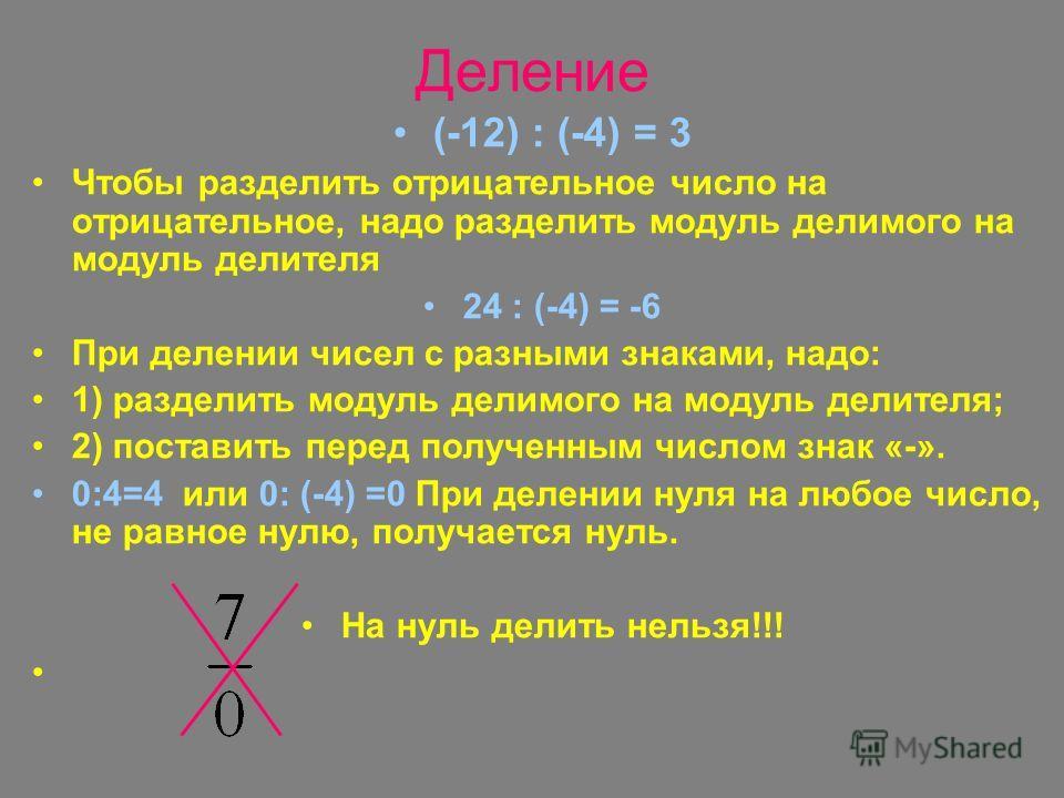 Деление (-12) : (-4) = 3 Чтобы разделить отрицательное число на отрицательное, надо разделить модуль делимого на модуль делителя 24 : (-4) = -6 При делении чисел с разными знаками, надо: 1) разделить модуль делимого на модуль делителя; 2) поставить п