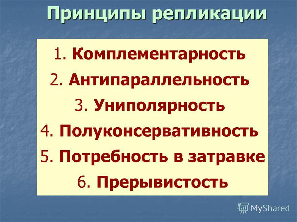 1. Комплементарность 2. Антипараллельность 3. Униполярность 4. Полуконсервативность 5. Потребность в затравке 6. Прерывистость Принципы репликации