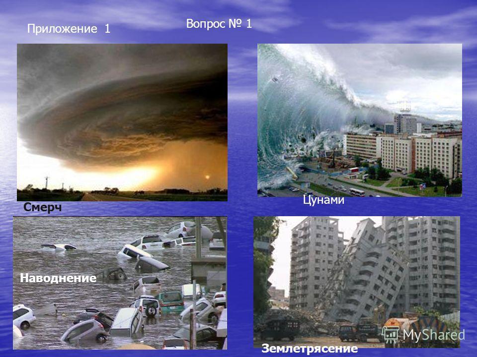 Вопрос 1 Приложение 1 Смерч Цунами Наводнение Землетрясение