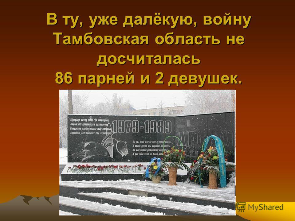 В ту, уже далёкую, войну Тамбовская область не досчиталась 86 парней и 2 девушек.