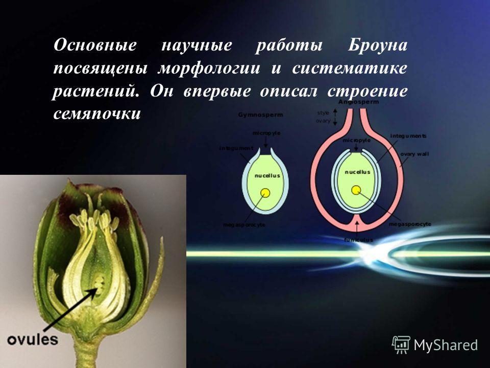 Основные научные работы Броуна посвящены морфологии и систематике растений. Он впервые описал строение семяпочки