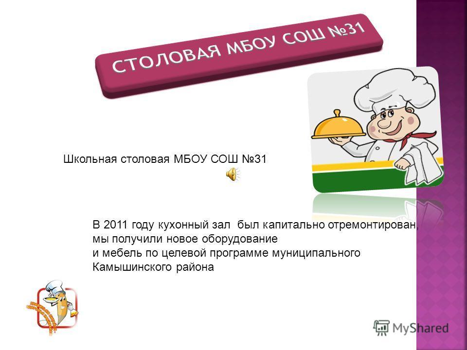 Школьная столовая МБОУ СОШ 31 В 2011 году кухонный зал был капитально отремонтирован, мы получили новое оборудование и мебель по целевой программе муниципального Камышинского района