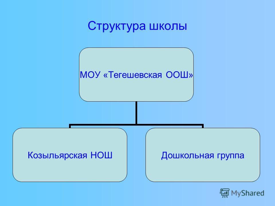Структура школы МОУ «Тегешевская ООШ» Козыльярская НОШ Дошкольная группа
