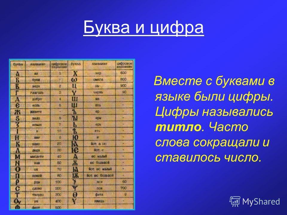Буква и цифра Вместе с буквами в языке были цифры. Цифры назывались титло. Часто слова сокращали и ставилось число.