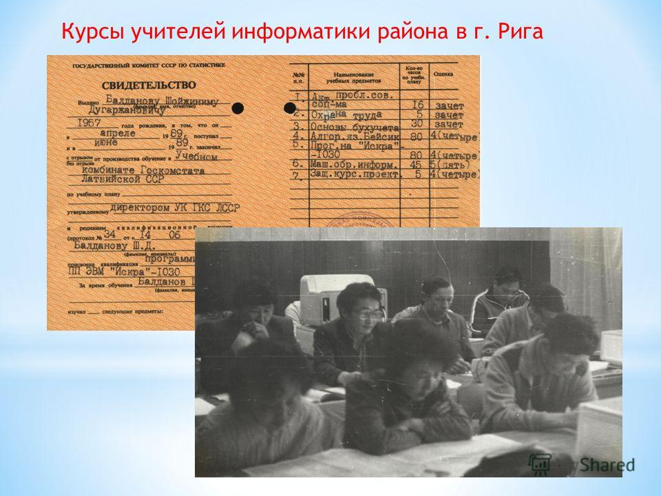 Курсы учителей информатики района в г. Рига
