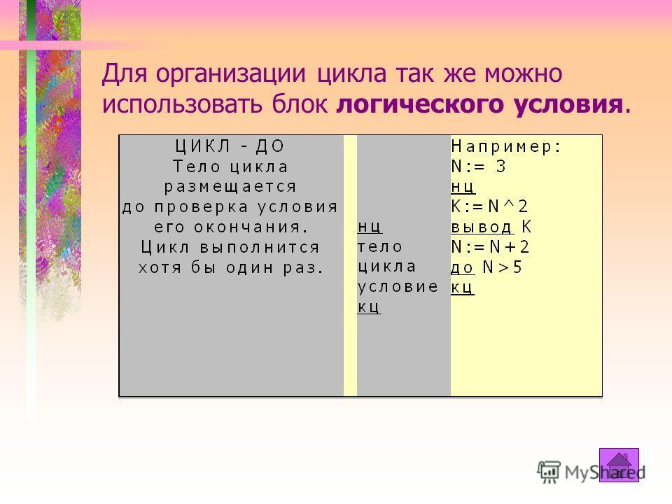 Цикл До Тело цикла размещается до проверка условия его окончания. Цикл выполнится хотя бы один раз.