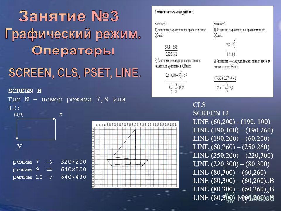 CLS SCREEN 12 LINE (60,200) - (190, 100) LINE (190,100) – (190,260) LINE (190,260) – (60,200) LINE (60,260) – (250,260) LINE (250,260) – (220,300) LINE (220,300) – (80,300) LINE (80,300) – (60,260) LINE (80,300) – (60,260),,В SCREEN N Где N – номер р