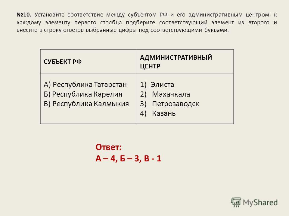 10. Установите соответствие между субъектом РФ и его административным центром: к каждому элементу первого столбца подберите соответствующий элемент из второго и внесите в строку ответов выбранные цифры под соответствующими буквами. Ответ: А – 4, Б –