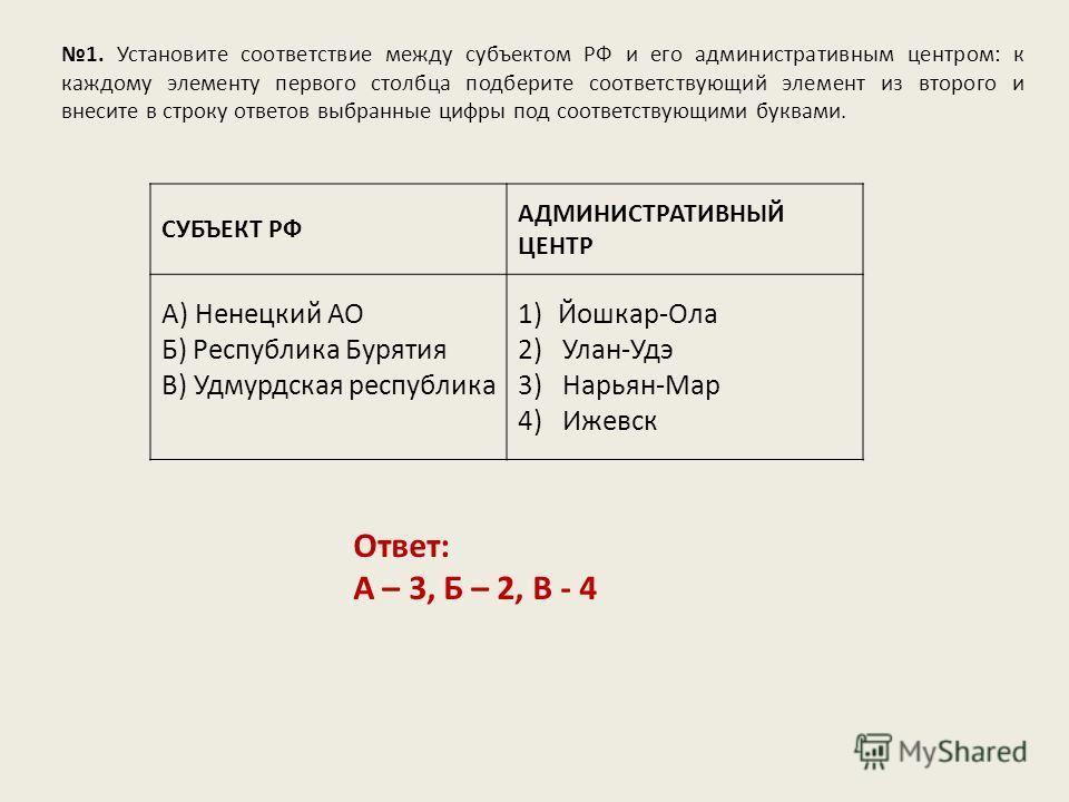 1. Установите соответствие между субъектом РФ и его административным центром: к каждому элементу первого столбца подберите соответствующий элемент из второго и внесите в строку ответов выбранные цифры под соответствующими буквами. Ответ: А – 3, Б – 2