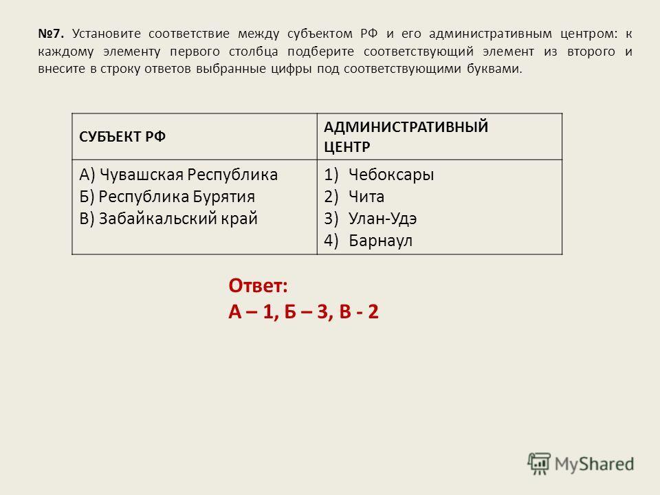 7. Установите соответствие между субъектом РФ и его административным центром: к каждому элементу первого столбца подберите соответствующий элемент из второго и внесите в строку ответов выбранные цифры под соответствующими буквами. Ответ: А – 1, Б – 3