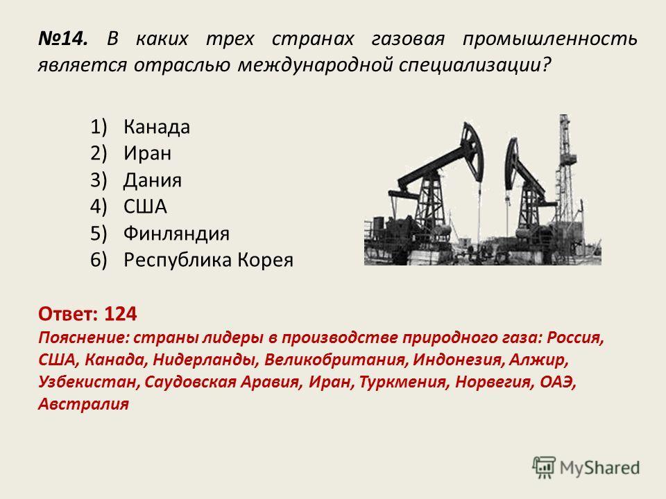 14. В каких трех странах газовая промышленность является отраслью международной специализации? Ответ: 124 Пояснение: страны лидеры в производстве природного газа: Россия, США, Канада, Нидерланды, Великобритания, Индонезия, Алжир, Узбекистан, Саудовск