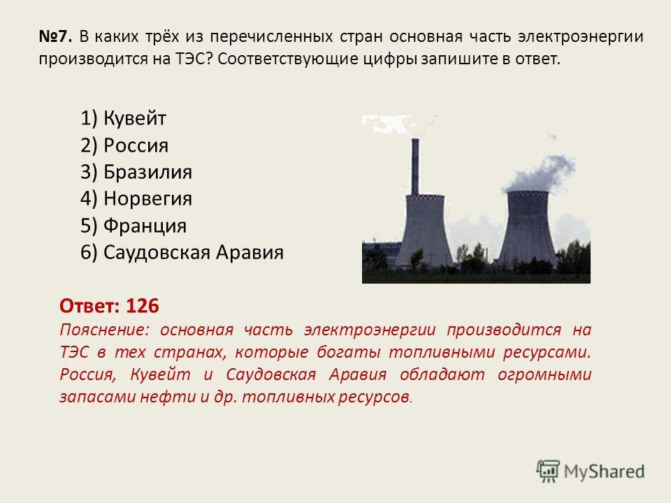 7. В каких трёх из перечисленных стран основная часть электроэнергии производится на ТЭС? Соответствующие цифры запишите в ответ. Ответ: 126 Пояснение: основная часть электроэнергии производится на ТЭС в тех странах, которые богаты топливными ресурса