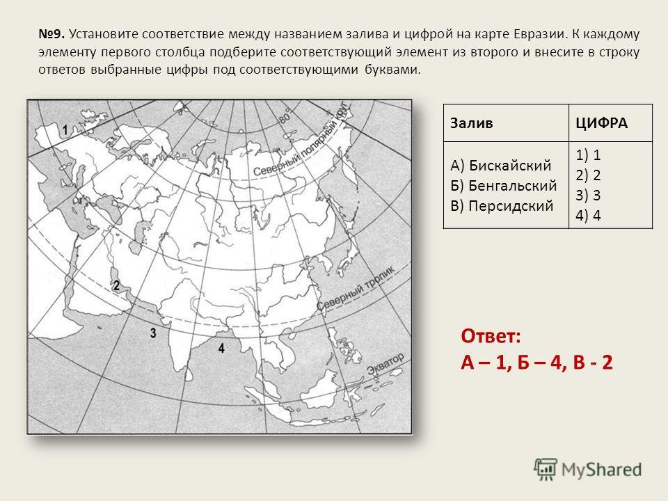 9. Установите соответствие между названием залива и цифрой на карте Евразии. К каждому элементу первого столбца подберите соответствующий элемент из второго и внесите в строку ответов выбранные цифры под соответствующими буквами. ЗаливЦИФРА А) Бискай