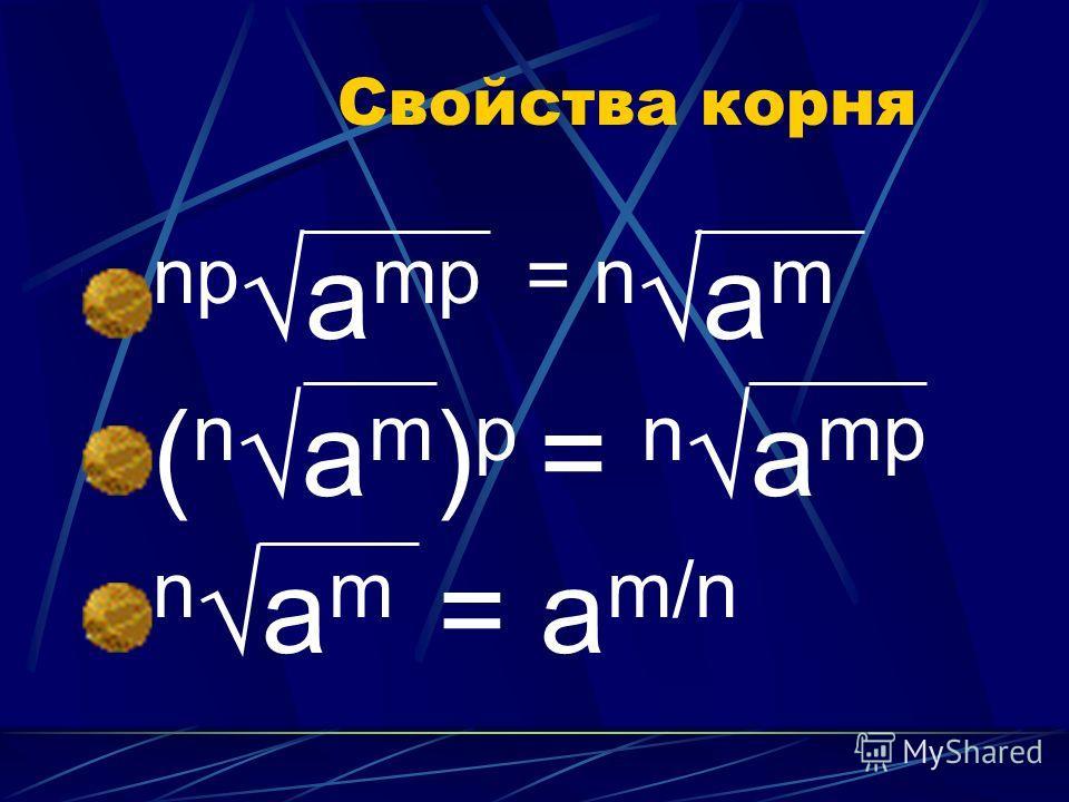 Свойства корня npа mp = nа m ( nа m ) p = nа mp nа m = а m/n