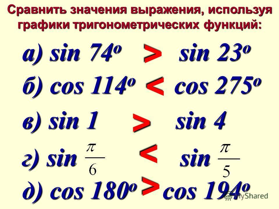 Сравнить значения выражения, используя графики тригонометрических функций: а) sin 74 o sin 23 o а) sin 74 o sin 23 o б) cos 114 o cos 275 o б) cos 114 o cos 275 o в) sin 1 sin 4 в) sin 1 sin 4 г) sin sin г) sin sin д) cos 180 o cos 194 o д) cos 180 o