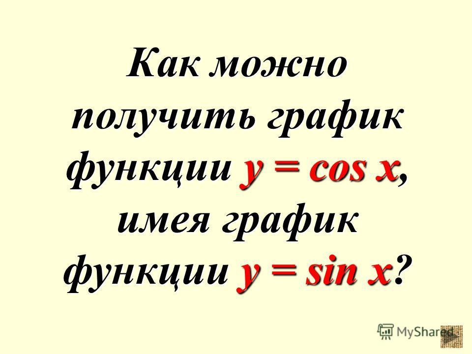 Как можно получить график функции у = cos x, имея график функции у = sin x?