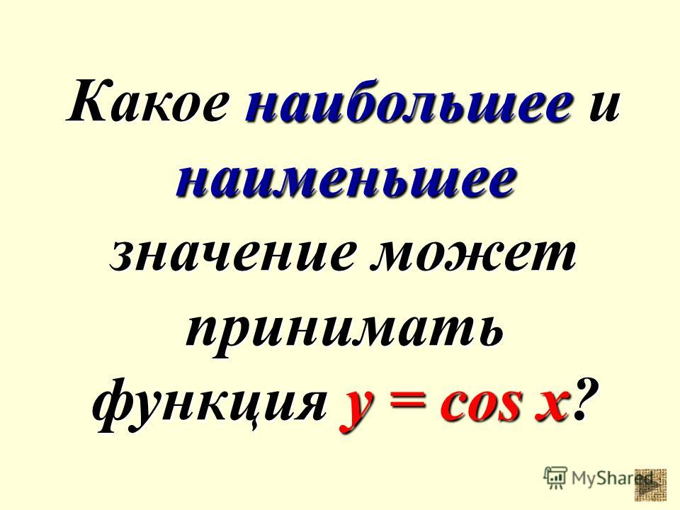 Какое наибольшее и наименьшее значение может принимать функция у = cos x?