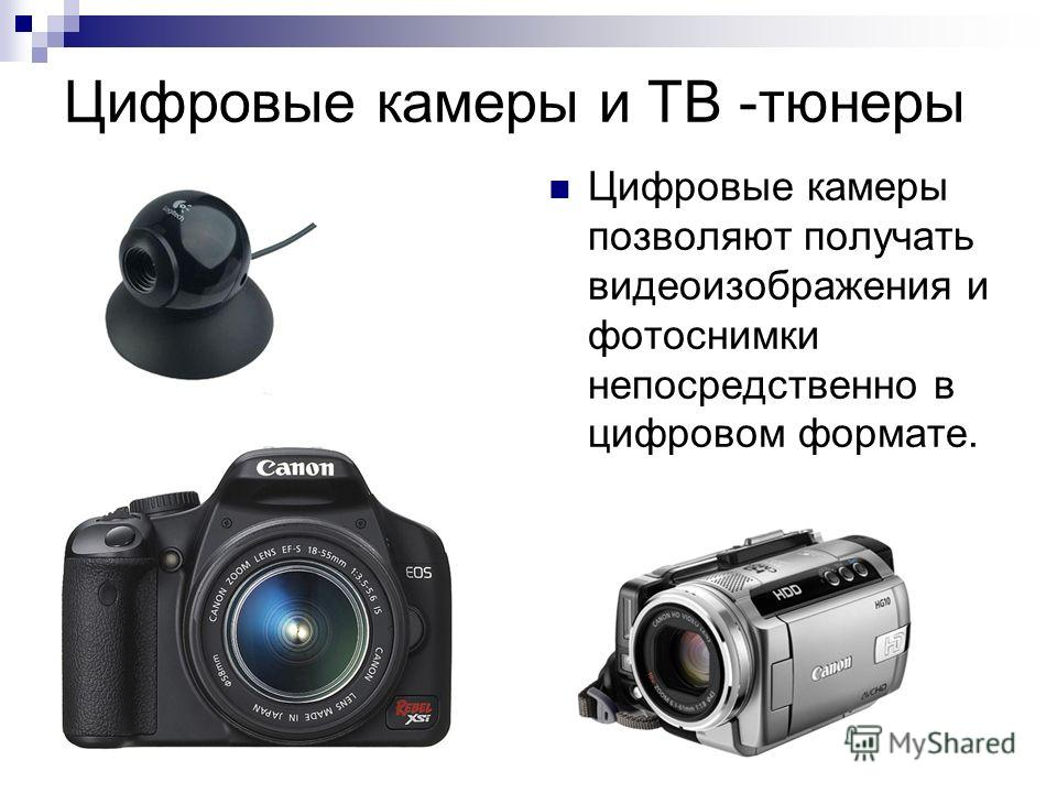 Цифровые камеры и ТВ -тюнеры Цифровые камеры позволяют получать видеоизображения и фотоснимки непосредственно в цифровом формате.