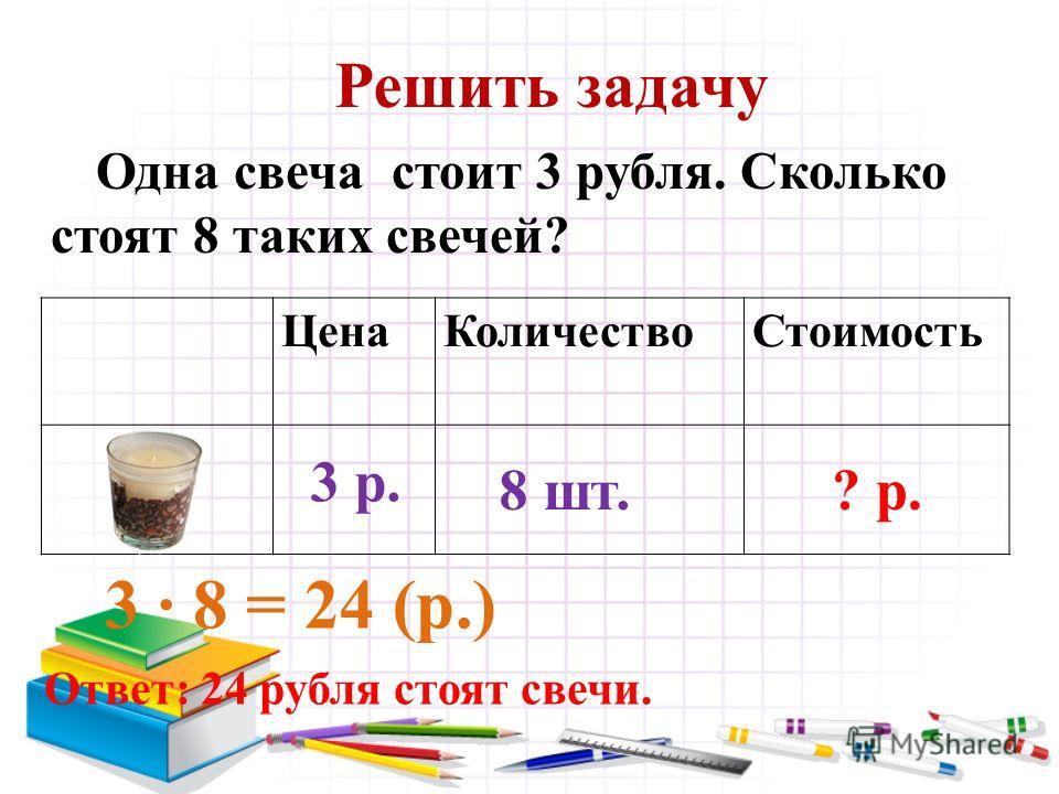 Решить задачу Одна свеча стоит 3 рубля. Сколько стоят 8 таких свечей? 3 8 = 24 (р.) Ответ: 24 рубля стоят свечи. ЦенаКоличествоСтоимость 3 р. 8 шт.? р.