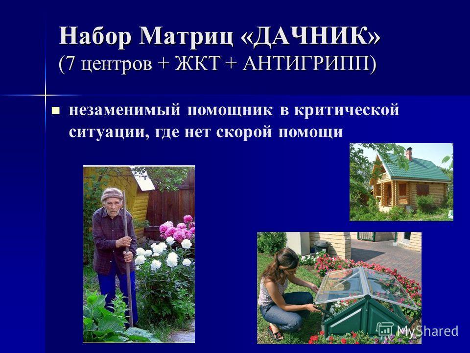 Набор Матриц «ДАЧНИК» (7 центров + ЖКТ + АНТИГРИПП) незаменимый помощник в критической ситуации, где нет скорой помощи